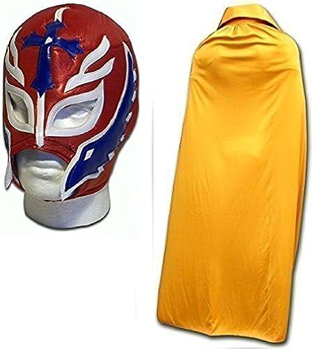 Erwachsene Rot Son Of Devil Kostüm Maske W   Gold Umhang Erwachsene Luchador Mexikanisch Wrestling