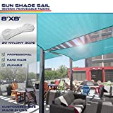 Windscreen4less 8' x 8' Square Sun Shade Sail - Solid Turquoise Durable UV Shelter Canopy for Patio Outdoor Backyard - Custom