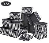 DIMJ Boite Rangement, 12pcs boites de Rangement de Non-tissé Haute Qualite,Rangement tiroir Pliable...