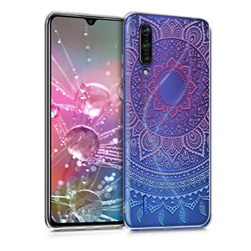 kwmobile Funda Compatible con Xiaomi Mi 9 Lite - Carcasa de TPU y Sol hindú en Azul/Rosa Fucsia/Transparente