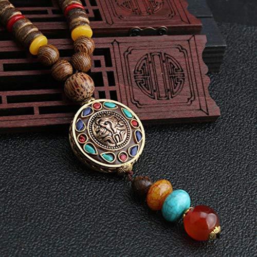 LASISZ MALATA Vintage Nepal Lungo Buddista Mala in Legno Pendente e Collana Etnica Boho Boho Buddha Gioielli fortunati per Donna Uomo, style5