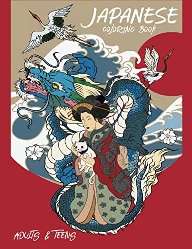Japanese Coloring Book for Adults and Teens Fantastic Book for Japanese Art Lovers Themes Such product image