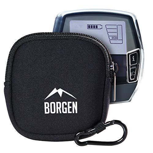 Borgen Neopren Tasche geeignet für Bosch Intuvia Display in schwarz - Hochwertige Displayschutz E-Bike Hülle - Schützt vor Kratzern und Stößen beim Transport und Reisen - Inkl Karabiner (Tasche)