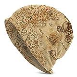 XCNGG Sombreros Gorras Skullies Gorros Knit Beanie Hat Pirate Treasure Map Vintage Skull Cap Running Fall Winter Warm Beanie Hat for Men-Adult Black