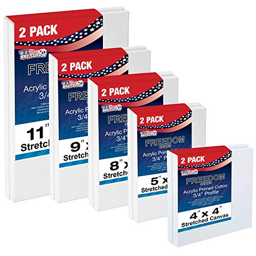 US Art Supply Multi-pack 2-Ea of 4x4, 5x7, 8x10, 9x12, 11x14. Professional Quality SMALL 12oz Primed Gesso Artist Stretched Canvas by US Art Supply