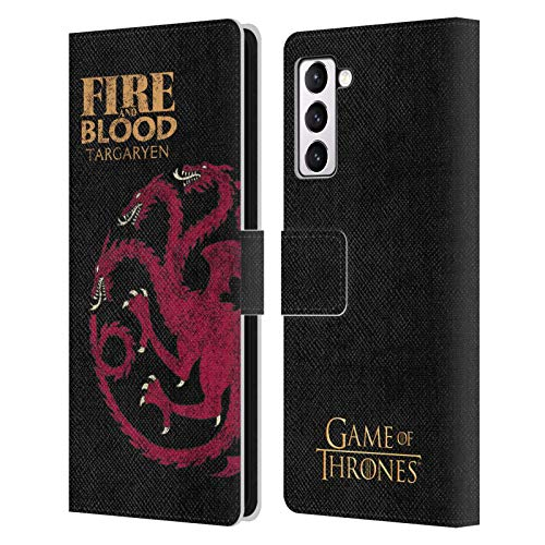 Head Case Designs Officially Licensed HBO Game of Thrones Targaryen House Mottos Leather Book Wallet Case Cover Compatible with Samsung Galaxy S21+ 5G