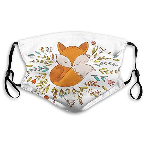 GABRI Mundschutz Gesichtsschutz Netter Baby-Fuchs, der in einem Blumen-gemachten Bett-Kreis schläft Antistaub Waschbar und Wiederverwendbar Bandana mit Filtern