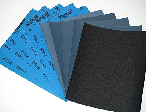 Starcke Matador Schleifpapier, Trocken / Nass, Körnung 180 / 400 / 600 / 800 / 1000 (je 2 Bögen), 10 Stück