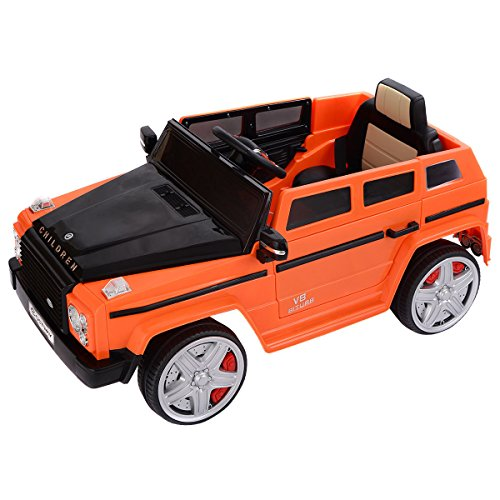 Costzon Ride On Car, 12V Battery Powered Kids Vehicle with Manual/ Parental Remote Control Modes , USB Port, LED Lights, Music, Two Doors Open (Orange)