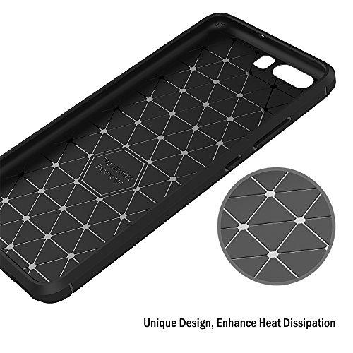 AICEK Huawei P10 Hülle, Schwarz Silikon Handyhülle für Huawei P10 Schutzhülle Karbon Optik Soft Case - 5
