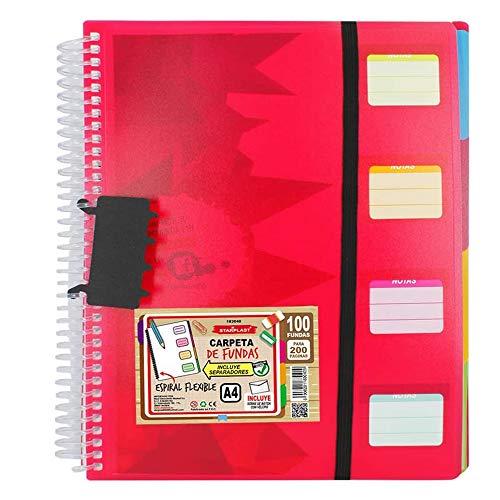 Starplast Carpeta espiral flexible con fundas y separadores intercambiables, A4, cierre de goma elástica, tapas de polipropileno color rojo, incluye sobre transparente con cierre velcro, Rojo