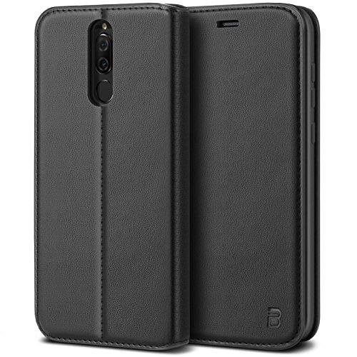 BEZ Handyhülle für Huawei Mate 10 Lite Hülle, Tasche Kompatibel für Huawei Mate 10 Lite Hülle Hülle Schutzhüllen aus Klappetui mit Kreditkartenhaltern, Ständer, Magnetverschluss, Schwarz