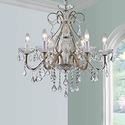 BESTIER Antique Silver Vintage Candle Chandelier Crystal Lighting Lamp for Dining Room with 6 E12 Bulbs Required D24 in x...