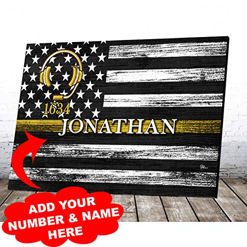 Personalized Dispatcher 911 Police EMS Fire Emergency Dispatcher Thin Gold Yellow Line Patriot Pride American Flag Canvas Prints Wall Art Vintage Wooden Background Customized Home Decor Gifts (12x8)
