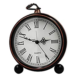 OURISE 5.5 Metal Antique Table Clock, Retro Vintage Non-Ticking Small Alarm Clock,Battery Operated Silent Quartz Movement Desk Gift Clock for Bedroom Living Room Indoor Decoration Kids (02)