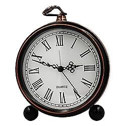 5.5 Metal Antique Table Clock, Vintage Silent&Non-Ticking Alarm Clock, Retro Loud Desk Clock for Kids Bedroom Living Room Decoration (02)