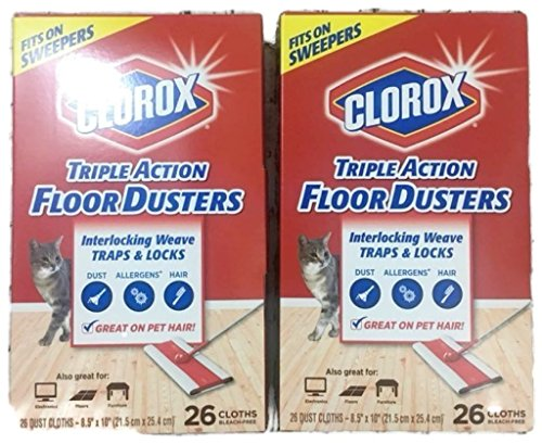 Clorox Triple Action Floor Dusters, 26 Cloths (Pack of 2)