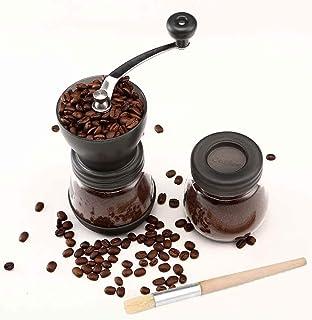 Cooko Manuell kaffekvarn, premium justerbar grovhet keramisk burr, bärbar handvevkvarn för resor eller camping, med extra ...