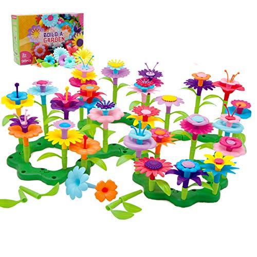 BAISIQI Geschenke für 3-6 Jahre Alt Mädchen Joy-Fun Blume Bausteine für Kinder Pädagogisches Spielzeug Kreative Spiele 98 PCS Einstellen Bausteine