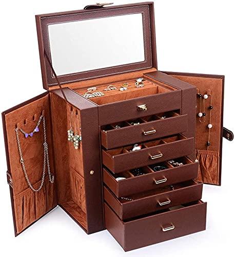 Organizador de joyas grande, caja de joyería de cuero de 6 capas para mujeres, reloj collar, pendientes, pulsera con cajones y espejo extraíbles, regalo ideal para mujeres y niñas, marrón