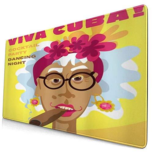 HUAYEXI Alfombrilla Gaming,Puro Mujer Caricatura Tocado Floral Y Pendientes Viva Cuba Lema Dibujos Animados,con Base de Goma Antideslizante,750×400×3mm