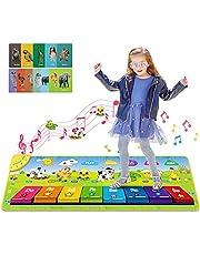 Magicfun Alfombra de Piano, Alfombra Musical de Teclado con Teclas de Colores 3D, Alfombra Piano de Suelo con Sonidos de Animales y Tarjeta de Estudio, Juguetes Musicales para bebés, niños (100*36cm)