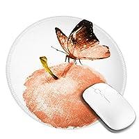 団子dadabuliu マウスパッド 円形 小形 水彩画 リンゴ 蝶 オレンジ色 上品 ゲーミング ゴム底 光学マウス対応 滑り止め エレコム 耐久性が良い おしゃれ かわいい 防水 サイバーカフェ オフィス最適 適度な表面摩擦 直径:20cm