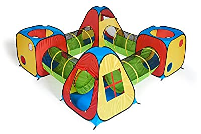 UTEX 8 in 1 Pop Up Children Play Tent House with 4 Tunnel, 4 Tents for Boys, Girls, Babies and Toddlers for Indoor and Outdoor Use from UTEX