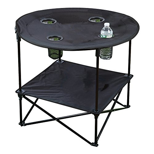 Portable Camping Side Table for Outdoor Picnic, Beach, Games, Camp, and Patio Tables Folding with Carry Case for Travel and Storage (Black)