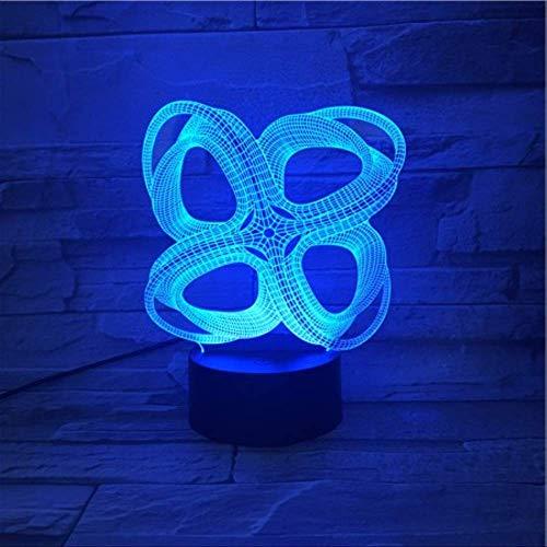 DFDLNL Arte Abstracto 3D LED Lámpara de luz Nocturna Amigo Bebé Regalo Luz Nocturna USB o Batería Lámpara Decorativa de Oficina 7 Colores