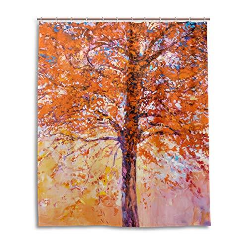 JSTEL Decor Rideau de Douche 100% Polyester Motif Arbre Rouge 152 x 183 cm