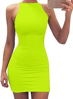 Women's Sexy Bodycon Spaghetti Strap Round Neck Top Club Mini Dress
