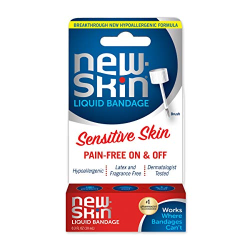 NEW-SKIN Sensitive Skin Liquid Bandage, Hypoallergenic Bandage for Minor Cuts and Scrapes, 0.3 oz