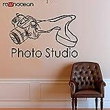 JXFM DIY Customizable Studio SLR Macchina Fotografica Adesivo da Parete in Vinile Decorazione della casa Pellicola autoadesiva Adesivo da Parete Rimovibile Carta da Parati Interni Art 64x42cm