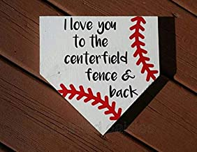MarthaFox I Love You to The centerfield Fence and Back Baseball Sign, Baseball Sign, Baseball Diamond Sign, Sports Sign, Door Hanger Sign