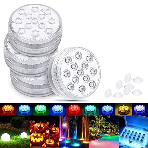 Magicfun Submersible LED Light, Waterproof Underwater Light, Multicolor RGB 13-LEDbeads with RF Remote Control, Pool Lamp for Swimming Pool, SPA, Vase Base, Fish Tank, Pond, Home Decorations (4 Pcs)