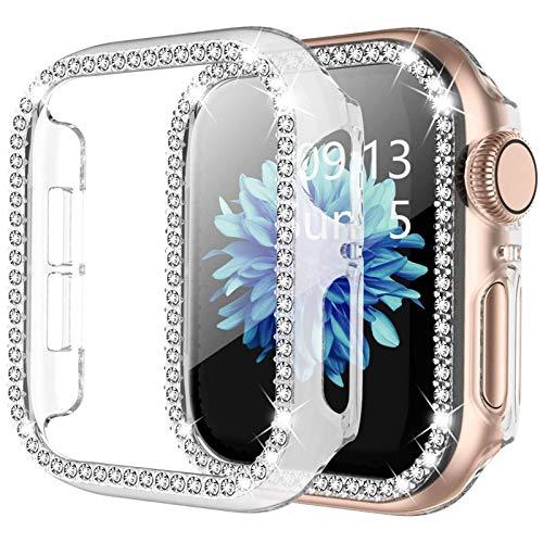 MPWPQ Para Apple Watch 6 SE Funda de 44 mm 40 mm Series 5 4 Bling Rhinestone Completo Alrededor de Las Cajas de PC para iWatch 3 42mm 38mm Mujer Cubierta de la Caja Reloj Correa