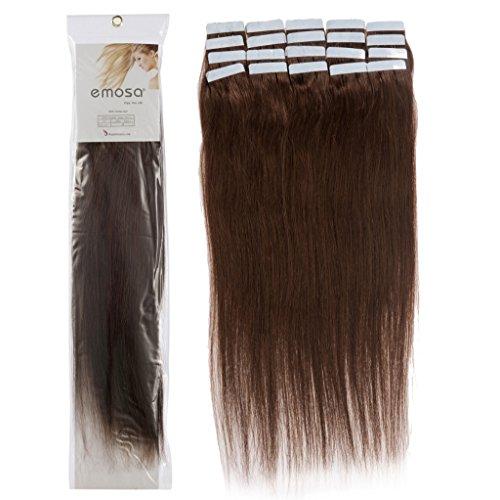 16 inch Emosa Remy Stright PU Tape Skin Seamless Human Hair Extensions #04 Medium Brown 100g