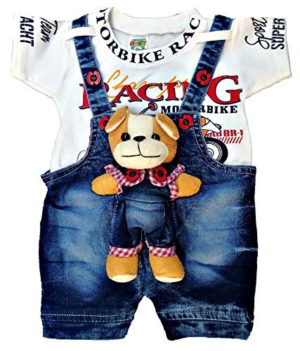 Dungaree For Boys & Girls Printed Denim