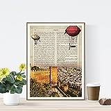 Nacnic Lámina Ciudad de ALMERIA. Estilo Vintage. Ilustración, fotografía y Collage con la Historia DE ALMERIA. Poster tamaño A4 Impreso en Papel