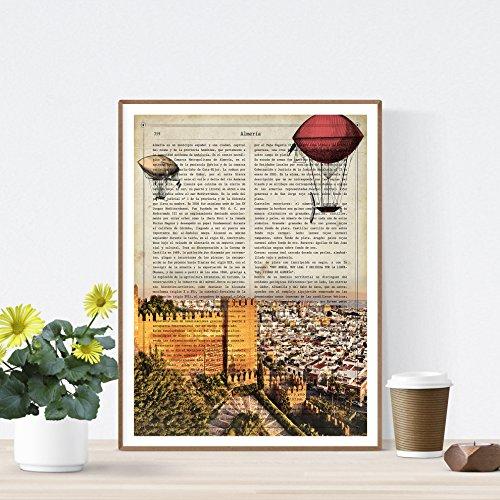 Nacnic Lámina Ciudad de ALMERIA. Estilo Vintage. Ilustración, fotografía y Collage con la...