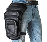 Leather Leg Drop Thigh Bag Genuine Black Leather Multi-Function Concealed Carry Motorcycle Drop Leg Fanny Pack