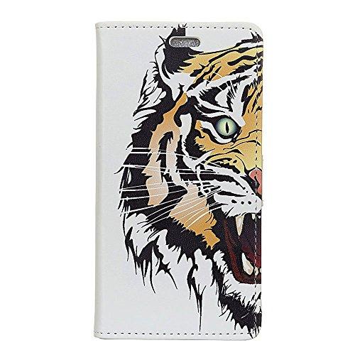 Sunrive Funda para Xiaomi Mi 8 Pro, Funda Protección Carcasa Cuero Resistente Cierre Magnético,Carcasa en Folio, Soporte Plegable (Patrón Tigre) + 1 x Lápiz óptico