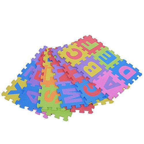 36Pcs Bildung Matte EVA Schaum scherzt Spielzeug Mat Puzzlespiel Kissen Auflage Mehrfarbenalphabet Buchstabe u. Zahl-kleine Blöcke weiche Matte für Kinder Innendekor Fitness Yoga Teppich, 15 * 15CM /