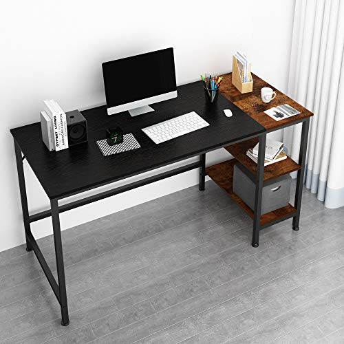 Study Table Office Corner Desk in Black Function Home 47 Inch Computer Desk with Shelves,Writing Desk with Storage Bookshelf