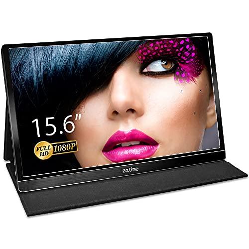 Aztine 15,6 Zoll Tragbare Monitor 1920 × 1080 FHD IPS Bildschirm mit HDMI und Typ-C für Laptop, PC, MacBook Pro, Xbox, PS3 / 4, Android Phone