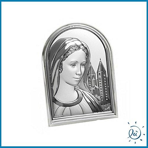 Albalù Italia Icona Sacra Madonna di MEDJUGORJE Argento Laminato con Retro in Legno Misura 7X10 cm