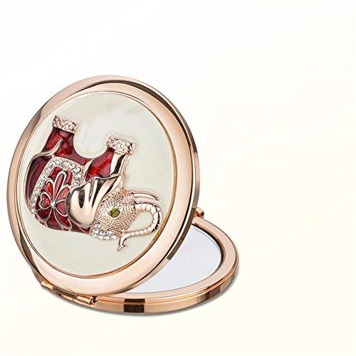 WanJiaMen'Shop Portatile Pieghevole Specchio per Il Trucco a Due Lati Dresser Specchio Piccolo Regalo di Natale Regalo per Le Feste, 7cm,A