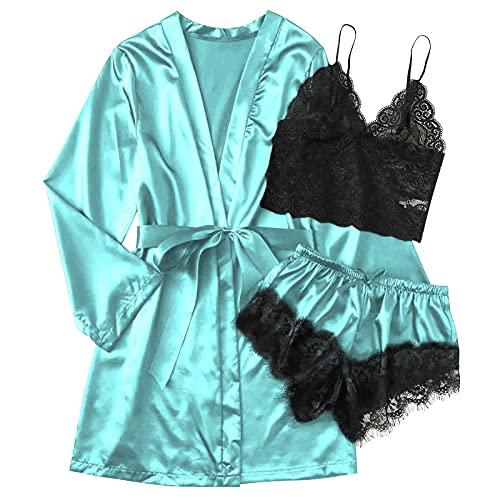 Writtian Bata Kimono Mujer, lenceria mujer sexy 2 Piezas Seda Satén Corto Kimono Bata Pijama Vestido de Encaje Conjunto de Lencería Albornoz Vestido de Dama de Honor de Camisón