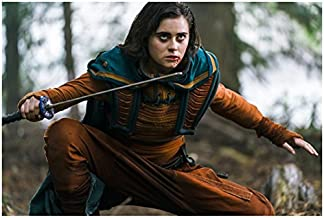 Into the Badlands Ally Ionnides as Tilda crouched looking up with sword raised 8 x 10 Inch Photo
